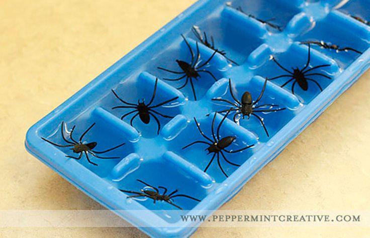 Ideia e inspiração para decoração de festa de Halloween / Dia das Bruxas // Gelo com aranhas // +em casaecozinha.com :-)