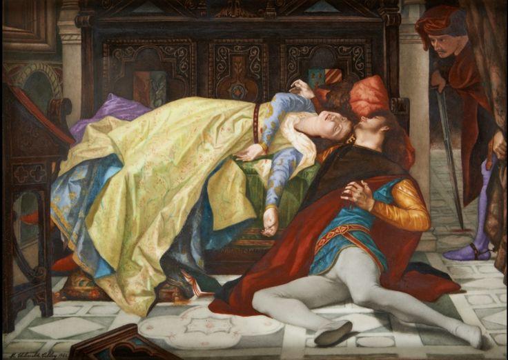 "Keramiek: Plaat uit polychrome porselein met ""L'amour impossible"" als decor.  Getekend en gedateerd: M. Thibault Tilloy 188"