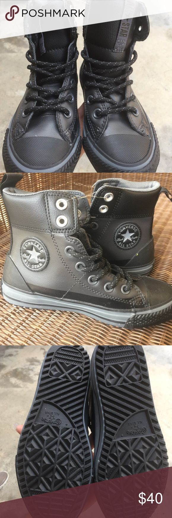 NWT BLACK LEATHER CONVERSE HIGH TOP SIZE 13.5 NWT BLACK LEATHER CONVERSE HIGH TOP SNEAKER FOR LITTLE BOY SIZE 13.5 Converse Shoes Sneakers