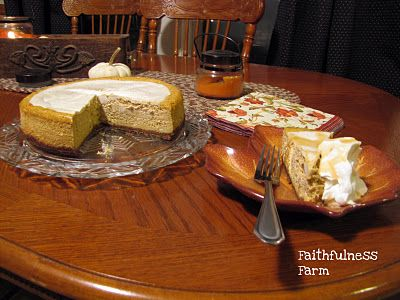 Pumpkin Cheesecake ( 2 recipes - a low carb version too) - served with whipped cream,drizzled with caramel sauce just like Olive Garden