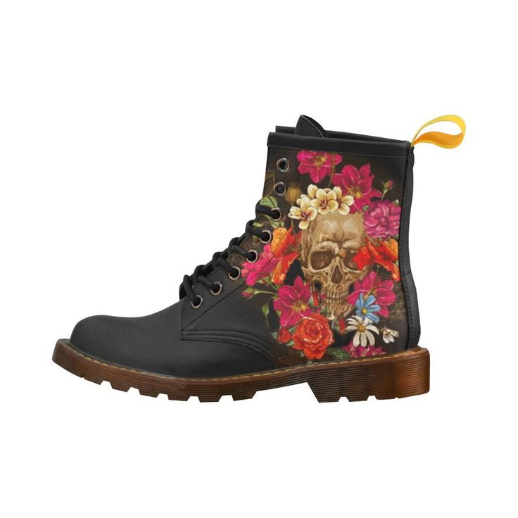 Bouquet Skull Printed Women's Lace Up Leather Boots