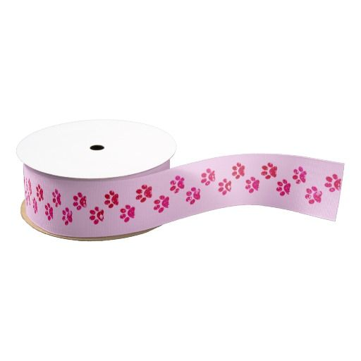 Pink Sparkly Paw Print Ribbon by KittyBitty
