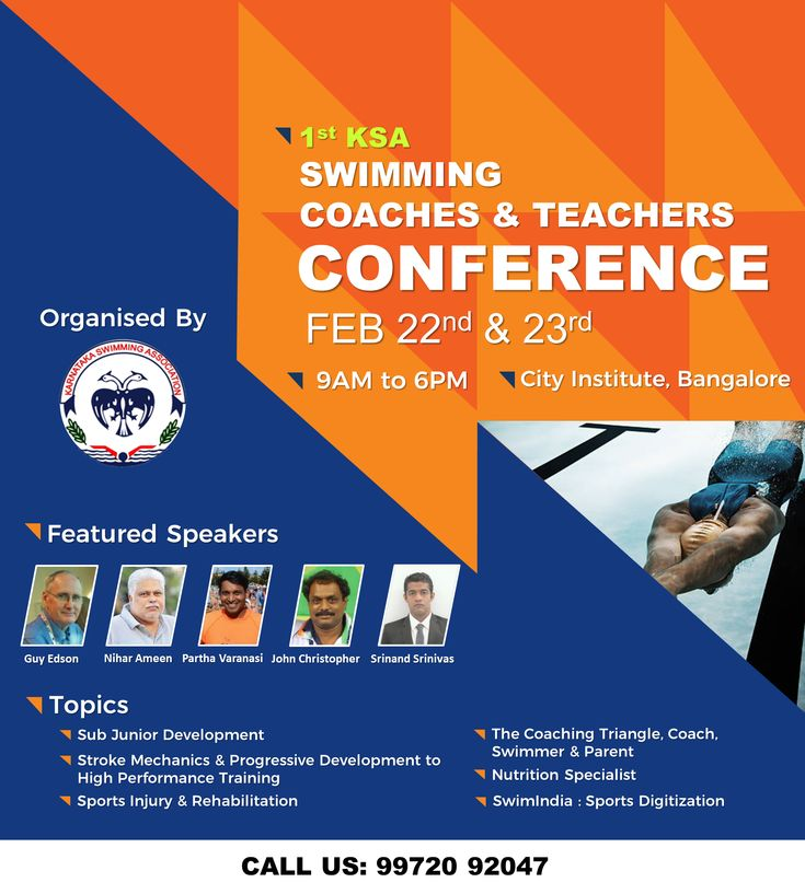 Meet the Country's Elite Swimming Teachers & Coaches to Discuss & Get their Expert Advice!  Karnataka Swimming Association is hosting the 1st KSA Swimming Coaches and Teachers Conference on 22nd and 23rd Feb 2018 at City Institute Bangalore.  For more information visit: https://goo.gl/VX42NW  #SwimIndia