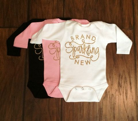 GOLD SPARKLE Brand Sparkling New Long Sleeve Baby Onesie ...