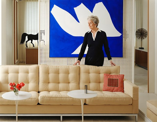 Florence Shu Knoll, a defining figure of the American Modern Movement. Love the sofa.