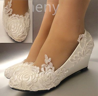 Silk satin rose lace Wedding shoes flat low high heel wedges bridal size 5-12