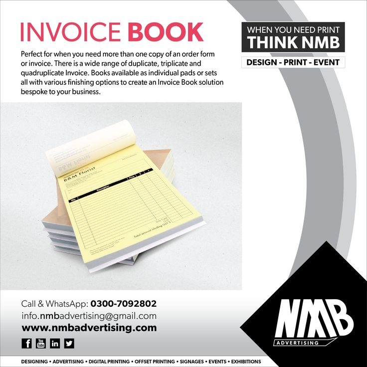 Invoice Book NMB Services Pinterest - duplicate order form