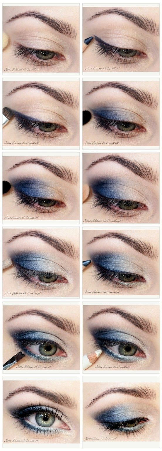 Blue Smoky Eye Tutorial - #eyes #eyeshadow #smokey #smoky #makeup #beauty #cosmetics #howto #tutorial www.pampadour.com by morecerv.