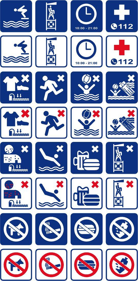 Pictogramas vectoriales para piscinas y playas, para corte e impresión.