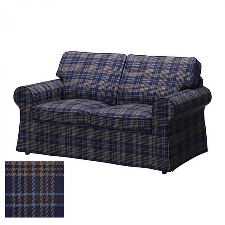 plaid housewares | ... EKTORP 2 Seat Loveseat Sofa COVER Slipcover RUTNA MULTI Plaid Blue