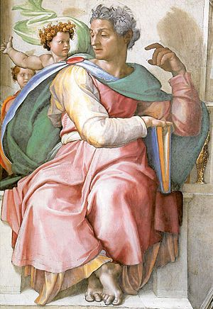 The Prophet Isaiah (detail from the Sistine Chapel ceiling) - Michelangelo. 1508-12. Sistine Chapel, Vatican Palace, Vatican City.