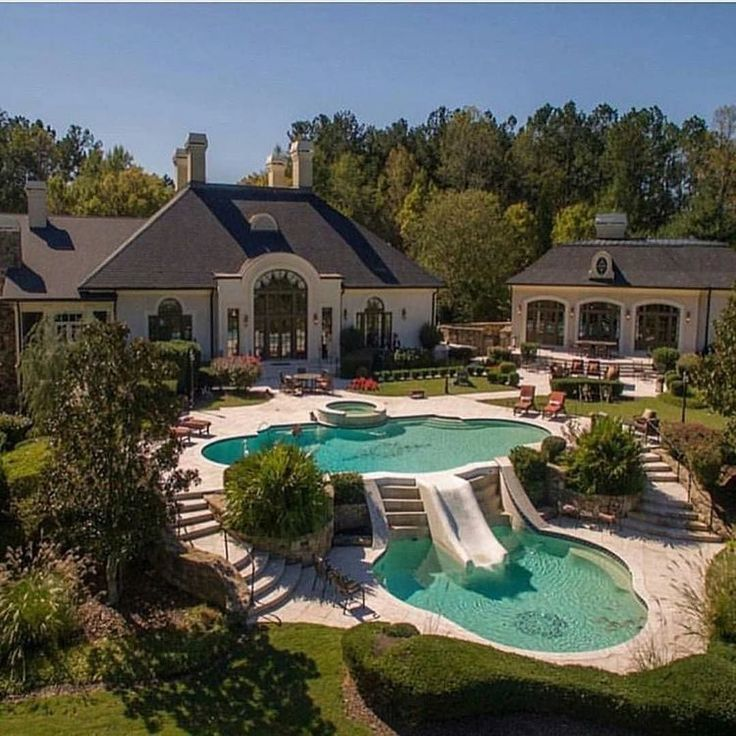 luxury estate with tiered swimming pool life is short get rich like we - Big Houses With Pools With Slides