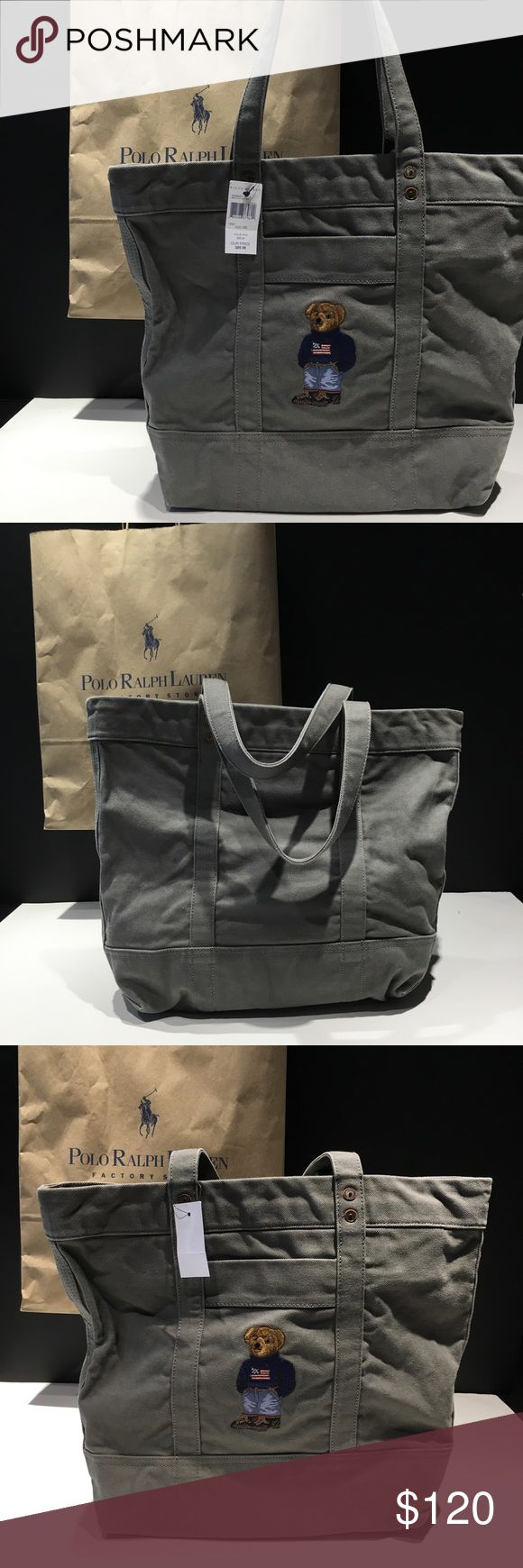 """Ralph Lauren Polo Bear Limited Edition Tote Bag 100% authentic polo bear merchandise   SOLD OUT EVERYWHERE  Polo Bear Tote Bag  Polo bear embroidered on the front  Slip pocket in front  Top zip closure Interior pocket  Two straps with 9"""" strap drop   SAME DAY SHIPPING Polo by Ralph Lauren Bags Totes"""
