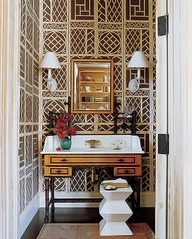 wallpaper powder room. Luscious bathroom. More lusciousness at www.myLusciousLife.com