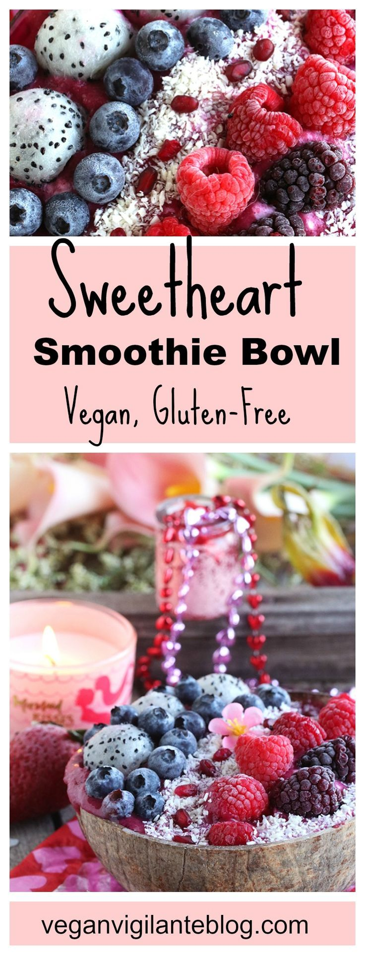 Need a little romance in your Valentine's Day? Start by serving this #Vegan Sweetheart Smoothie Bowl. Loaded with berries that are rich in antioxidants, this smoothie bowl will set the mood for a romantic and amorous day. Also #glutenfree & #refinedsugarfree.