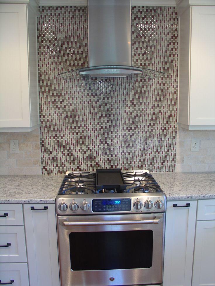 Chimney Hood Backsplash ~ Kitchen renovation chimney hood vent and glass tile