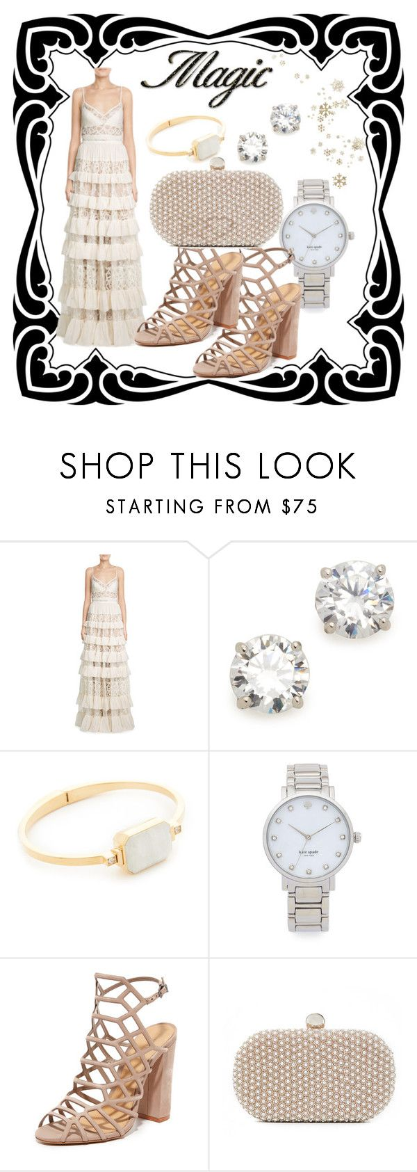 """""""Party Attire"""" by paige-brrian ❤ liked on Polyvore featuring Elie Saab, Kenneth Jay Lane, Ringly, Kate Spade, Schutz and Santi"""