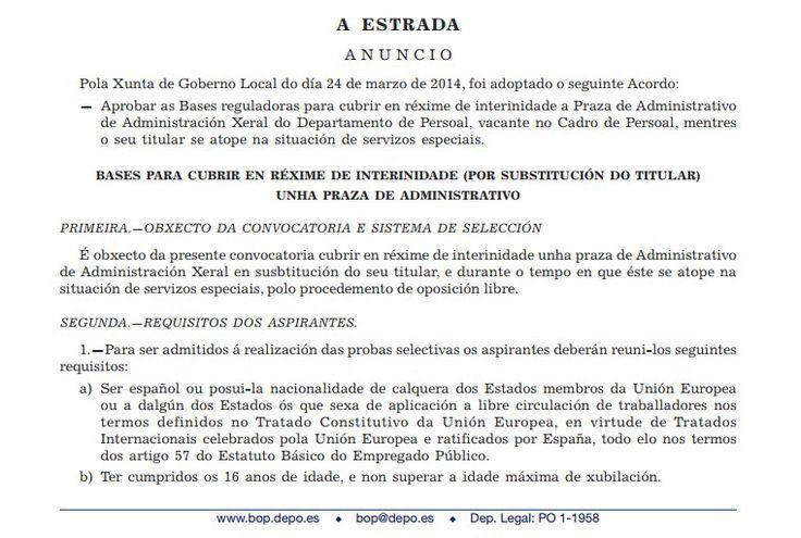 Administrativo - Concello A Estrada - Interinidade. Titulación: Bacharelato, Ciclo Superior. Prazo ata o 12 de maio #emprego