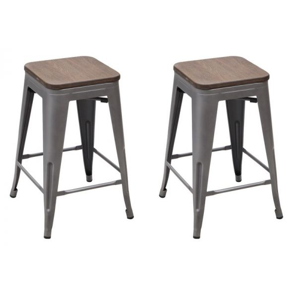 Vintage Metal Stools With Solid Wood Seat (Set Of 2) Great Ideas