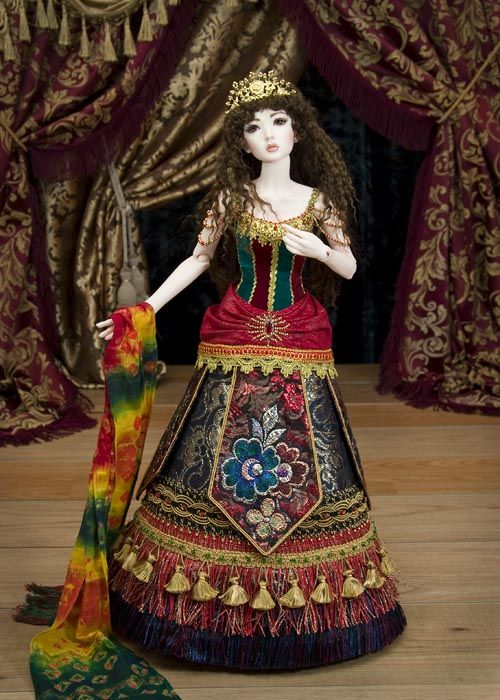 Image result for multi color brocade doll dress