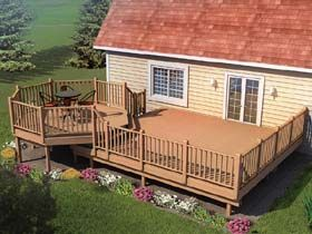 Picnic Deck with Raised Dining Area - Project Plan 90015   For those who enjoy food and fresh air, this deck offers plenty of space for cookouts and outdoor dining with an 8-sided, 10' diameter raised picnic area. Includes Extra Wide Railing and Stair Plans. 8-sided 10' Diameter Raised Picnic Area Lower Deck Can Be Built in 5 Sizes: (long side against house) 12' x 12' 16' x 12' 20' x 12' 16' x 14' 20' x 14'
