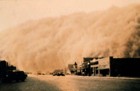"There were three major dust storms during the Dust Bowl: November 11th, 1933, in South Dakota; May 9th, 1934, along the Great Plains; and the ""Black Blizzard"" of April 14th, 1935. In the winter of 1935-36, red snow fell on New England."