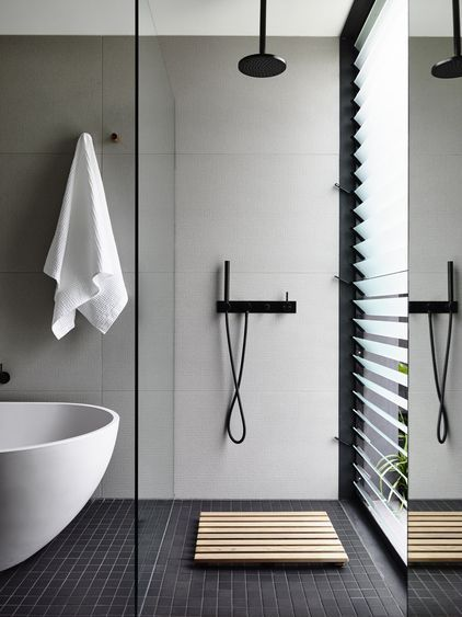 minimal bathroom with garden view gallery australian interior design awards - Bathroom Design Photos