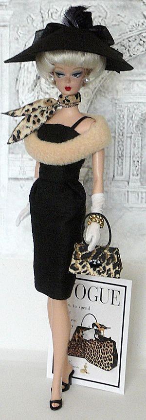 """Barbie ~ Leopard print accessories - Vogue (my Barbie was not this vogue, but she had a platinum """"bubble"""" cut)"""