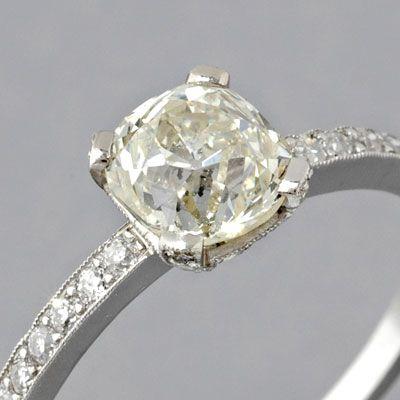 Edwardian Cushion Cut Engagement Rings | Antique Edwardian Style Platinum 1.18ct Cushion-cut Old Mine-cut ...