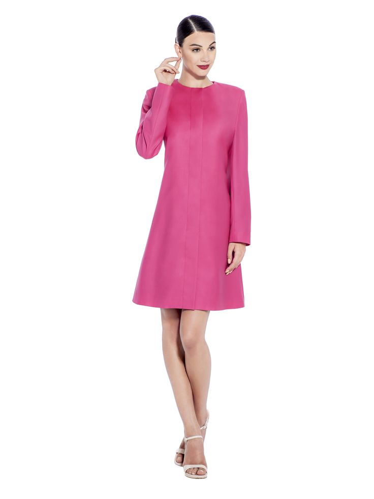 Make a statement in this premium quality 100% Super 130's Wool magenta coat, with long slim sleeves and hidden fastening with a scoop neck design. With its complementing 'A' shape this coat will always be a statement piece. Fabric imported from United Kingdom: 100% Super 130's Wool Lining imported from Germany: 100% Viscose Washcare: Dry clean MADE IN EUROPE