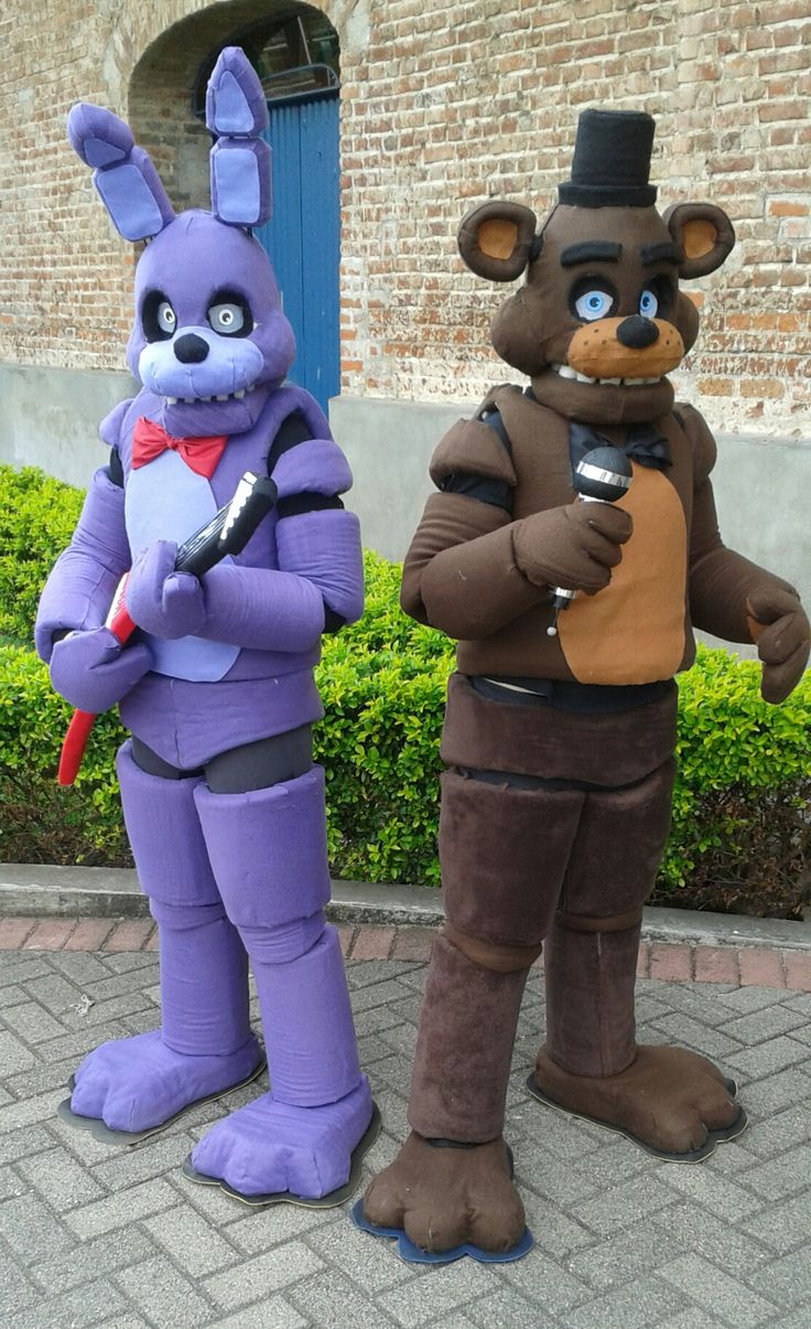 Me and my sister's playcon cosplays, Im Freddy and she's Bonnie! I made them all by myself :D