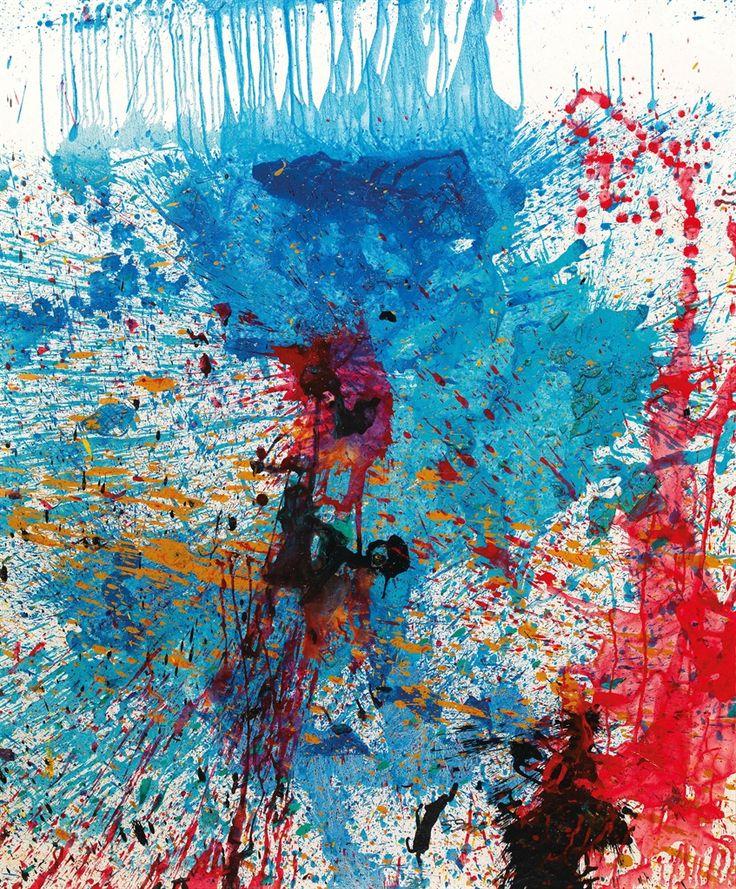 thunderstruck9:  Shozo Shimamoto (Japanese, 1928-2013), Untitled, 2010. Acrylic and broken glasses on canvas (bottle crash), 142.9 x 123 cm.