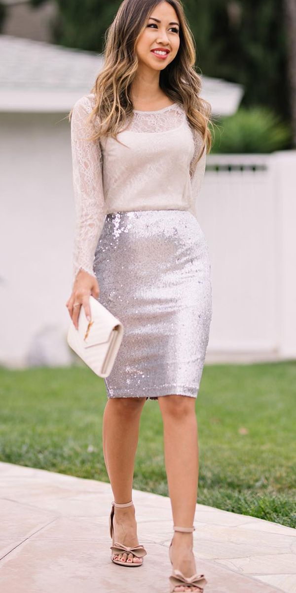 Winter Wedding Guest Dresses: 15 Best Looks ❤ winter wedding guest dresses with long sleeves sequin skirt lace and locks ❤ Full gallery: https://weddingdressesguide.com/winter-wedding-guest-dresses/ #bride #wedding #bridalgown #weddingguestdresses