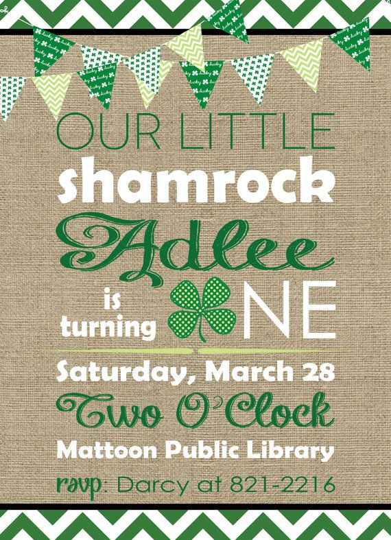 Printable st. patricks day first birthday party by InvitesbyEM, $14.00