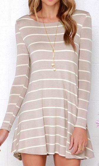 Easy Going Beige White Horizontal Stripe Long Sleeve Scoop Neck Skater Circle A Line Flare Mini Tee Shirt Dress