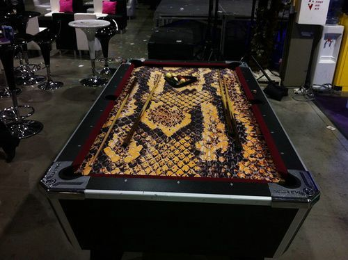 custom pool table felt snake skin