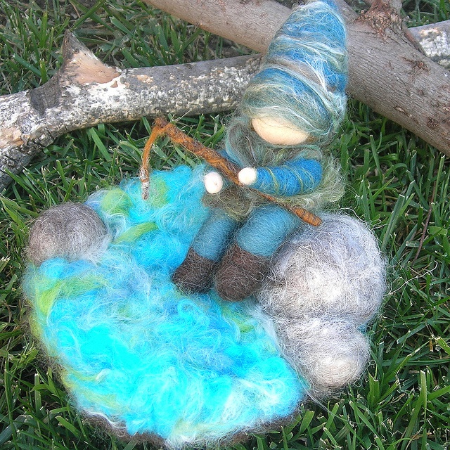 Needle felted fishing gnome play set with fishing pole for Felted wool boulders