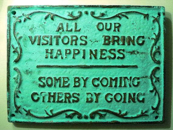 Coming & Going Distressed Cast Iron Sign by RosemaryGreenCottage