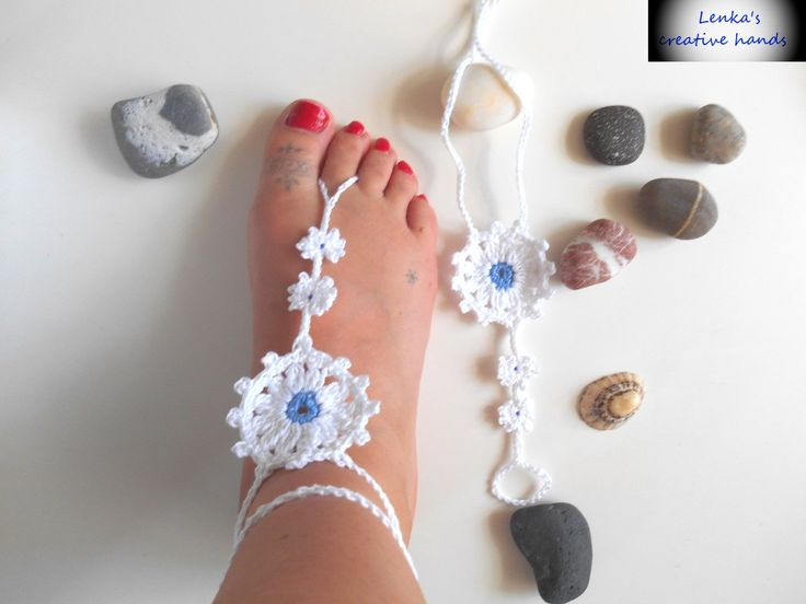 Ladies Crochet barefoot sandals, Beach barefoot sandals, Foot jewellery, Beach shoes, Anklet, Gift for her by Lenkascreativehands on Etsy