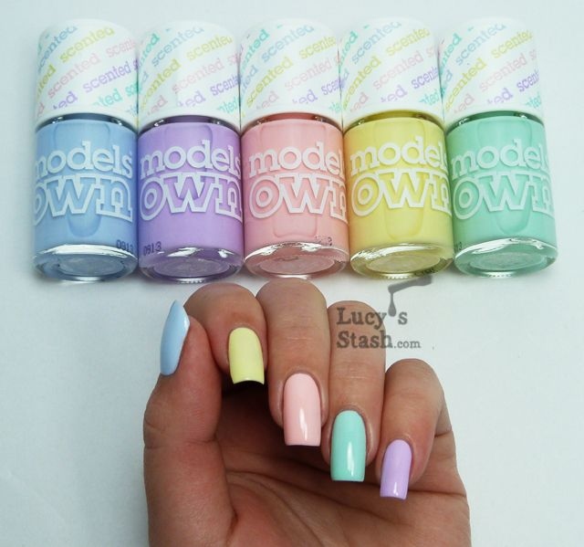 "Lucy's Stash - Models Own Fruit Pastel Collection: Blue - ""Blueberry Muffin"", Purple - ""Grape Juice"", Pink - ""Strawberry Tart"", Yellow - ""Banana Split"", Green - ""Apple Pie"" - perfect pastel manicure for Spring #multicoloured...x"