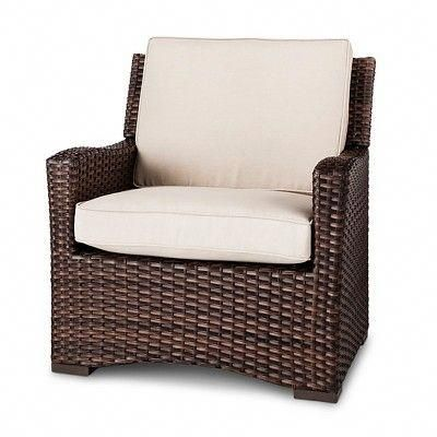 Halsted All Weather Wicker Outdoor Patio Club Chair W Cushion Tan