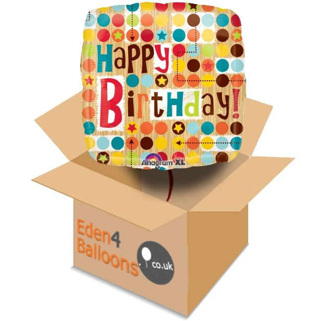 Birthday Balloon in a Box FREE Standard Delivery  A brilliant birthday Balloon in a Box. Ideal for sending and a delight to receive. Our balloon in a box gifts are made to order and come with a gift card and your personal message. Designs may vary.