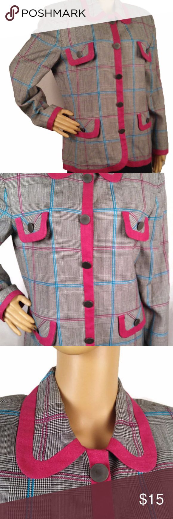 "Vintage 1980s Hot Pink Plaid Lined Blazer Vintage White, Hot Pink, and Black with Turquoise stripes plaid Women's Blazer trimmed in hot pink.  100% Rayon Labeled as dry clean only No pockets - Pocket look for decoration; Fully lined; Interior shoulder pads Please compare the measurements to a similar garment you already own that fits correctly. The garment is measured laying flat.  Size: 10 - Medium Shoulders at back between seams:  17"" Chest below armpits:  21"" Sleeve length:  23"" Shoulder…"