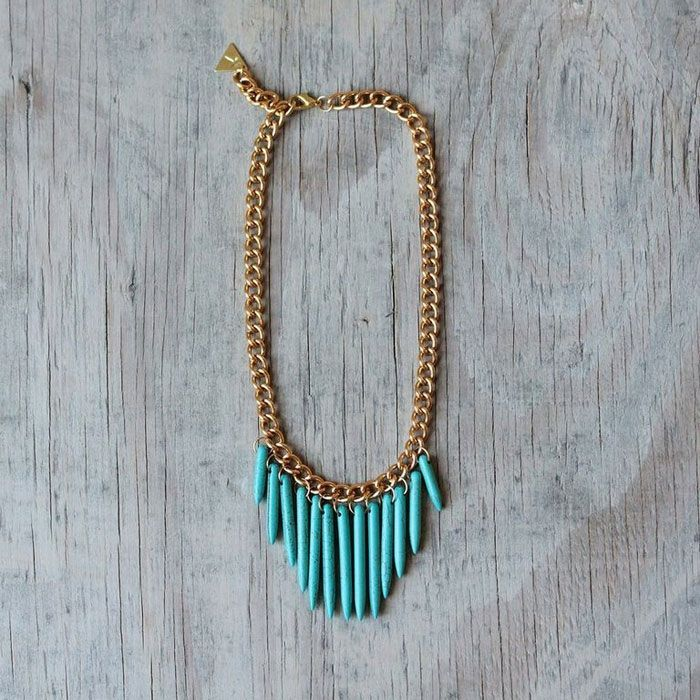 nora turquoise spike necklace