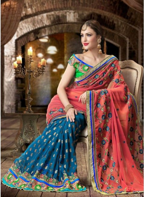 Mesmerizing Blue & Peaches Pink Georgette Based #Saree With Heavy Border, Palla Saree