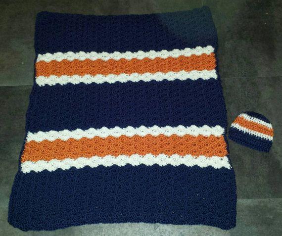 Crochet Shell Stripe Baby Boy Blanket Afghan Hat by VickersCrochet