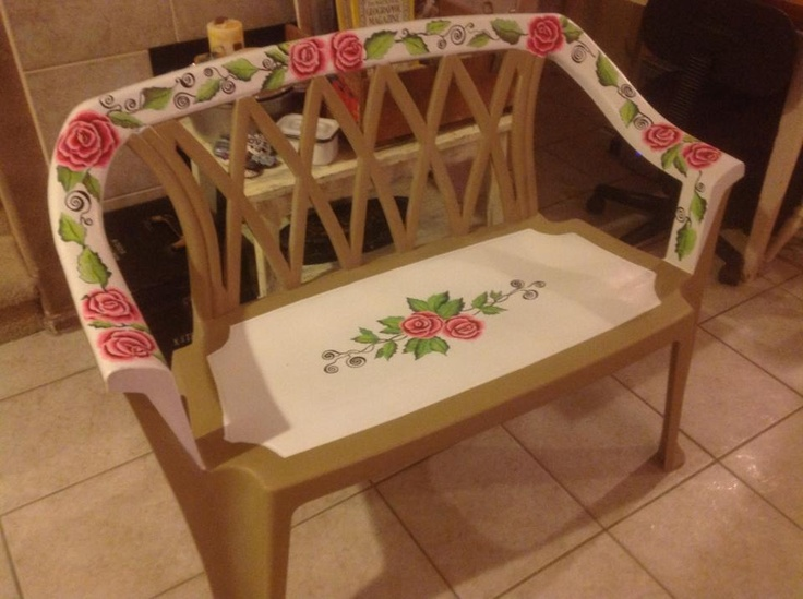 Perfect Eight Dollar Plastic Patio Chair That I First Used Plastic Spray Paint On  Then Painted Roses, Leaves Etc On. Clear Coat Outdoor Sealer U0026 Waterproof  Lacquer ... Part 21