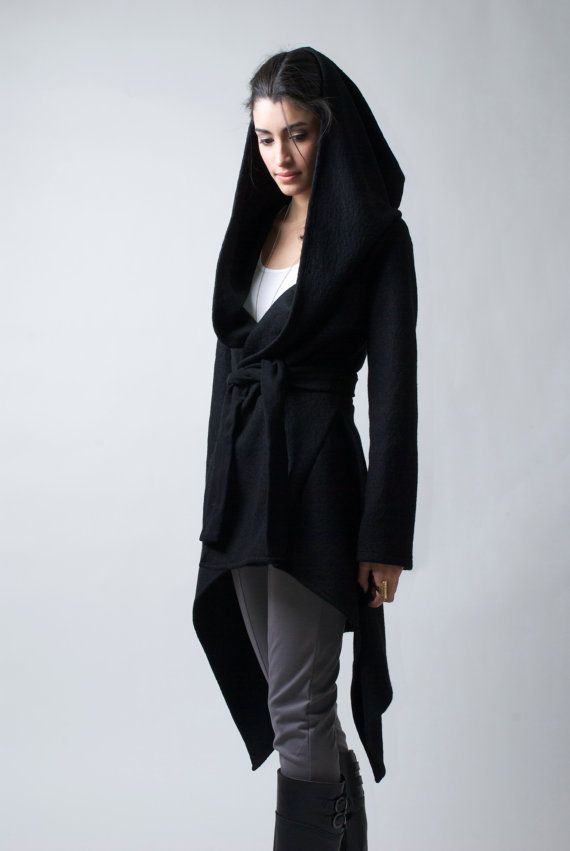 Black Coat with a Hood / Asymmetrical Hoody Cardigan / Spring Coat / Oversize Designer Coat / Asymmetric Coat - MC075