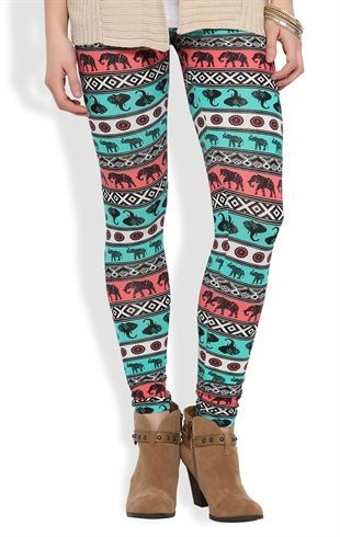 Deb Shops #Legging with Multicolor #Elephant Tribal Print $11.17