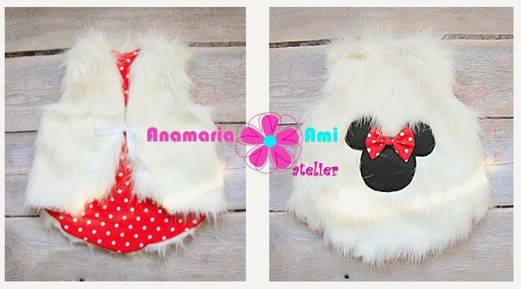 Vestute blanita personalizate brodate Anamaria Ami embroidery minnie mouse fur vest